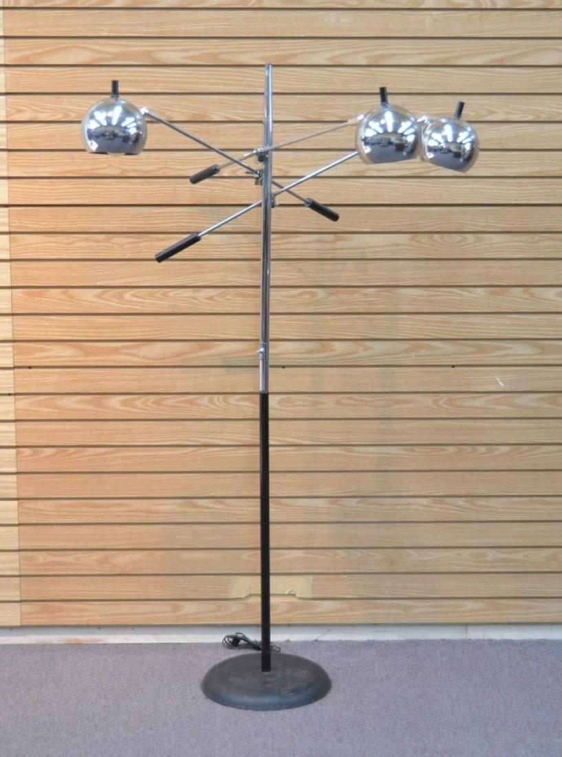 MODERN 3- BRANCH ORBITER CHROME FLOOR LAMP
