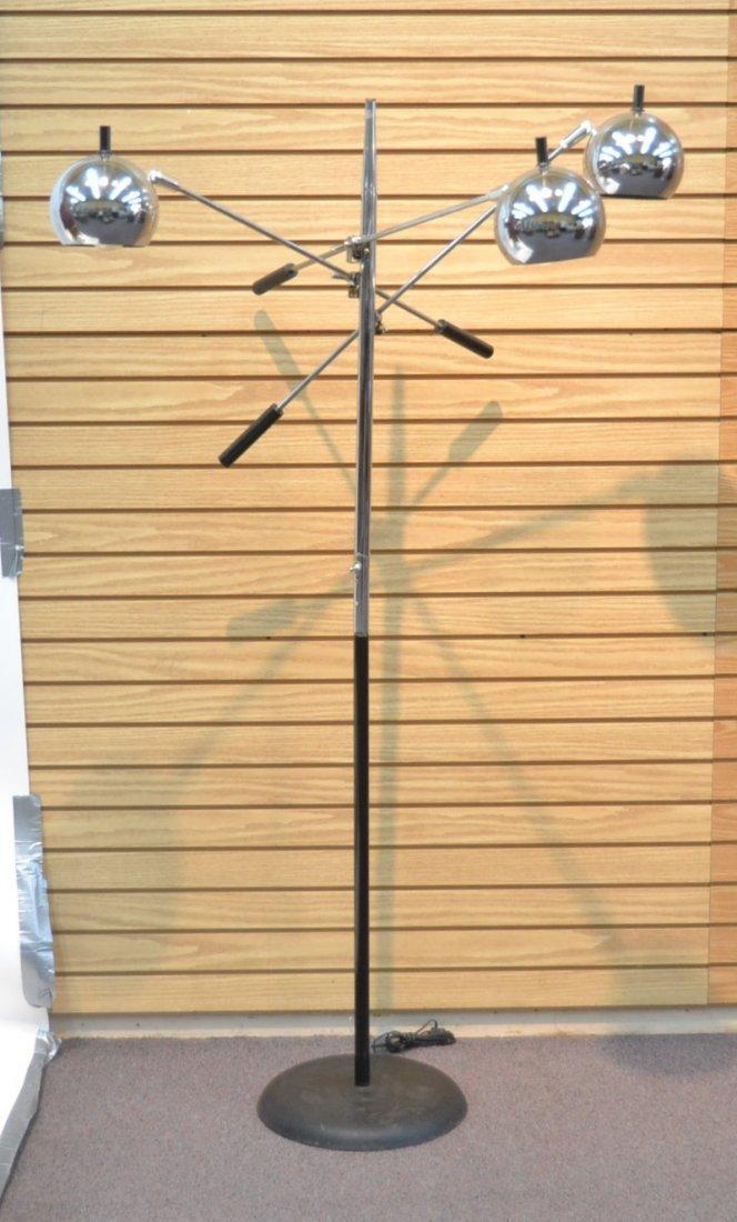 MODERN 3- BRANCH ORBITER CHROME FLOOR LAMP - 2