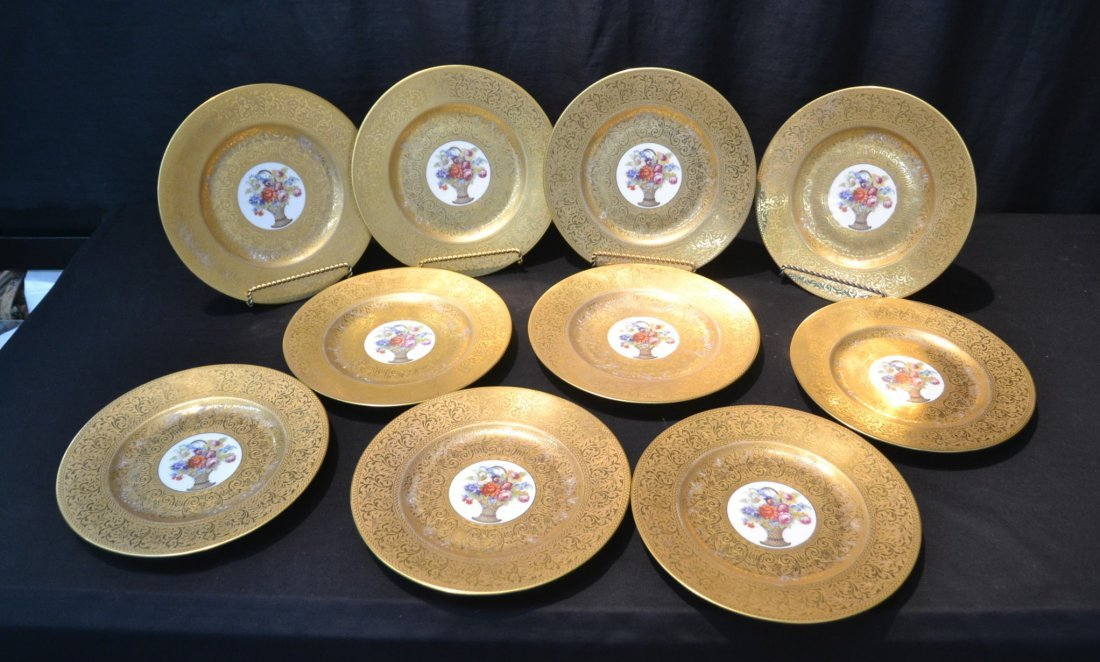 (10) HUTSCHENREUTHER GOLD SERVICE PLATES WITH