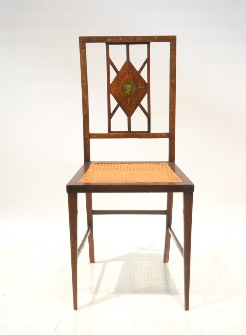 ADAMS STYLE INLAID CANE SEAT CHAIR