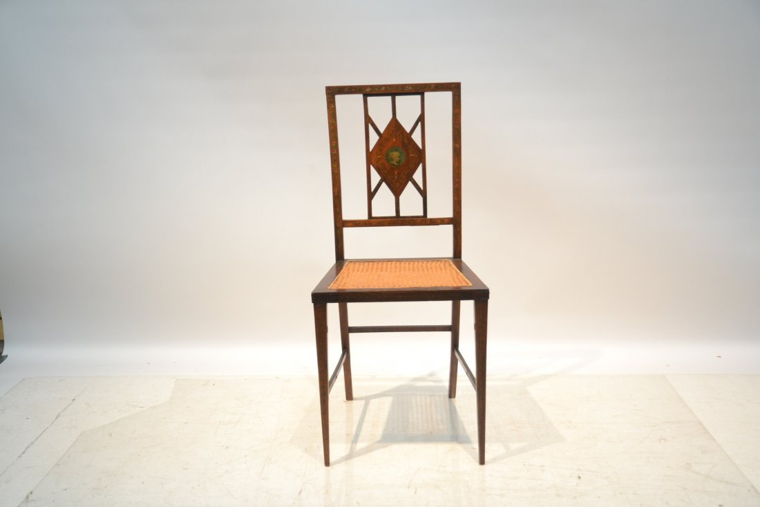 ADAMS STYLE INLAID CANE SEAT CHAIR - 2