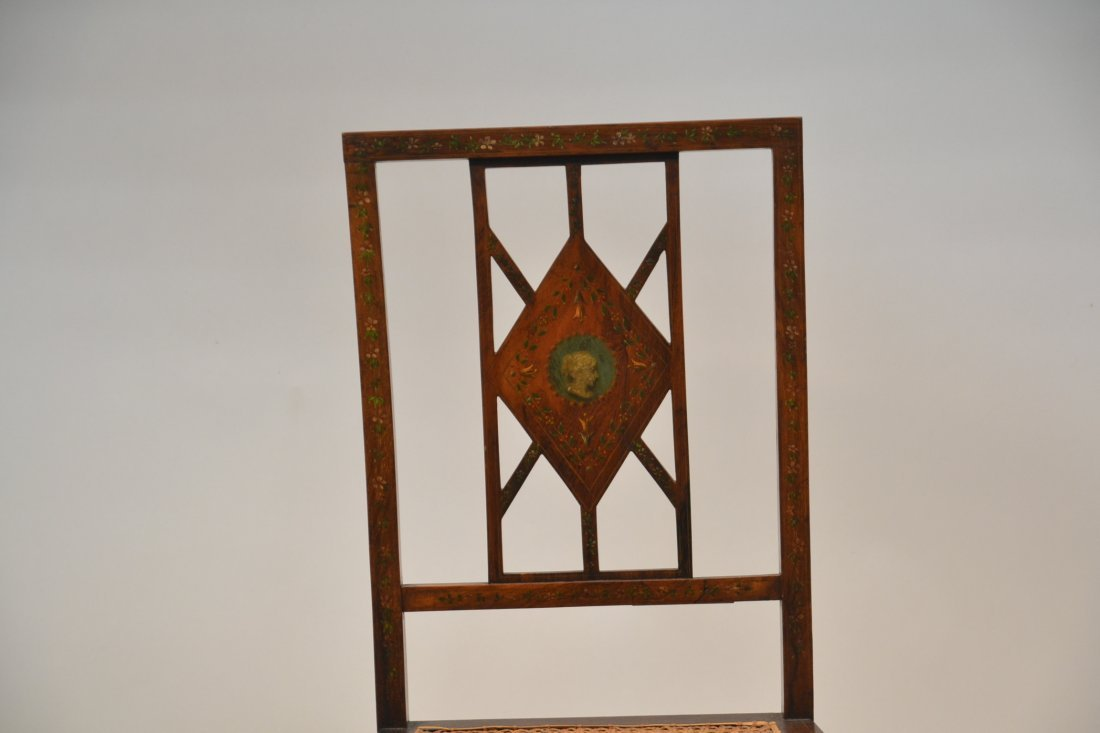 ADAMS STYLE INLAID CANE SEAT CHAIR - 3