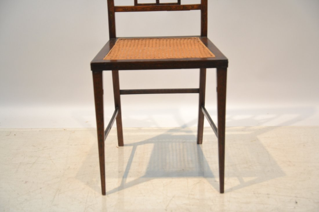 ADAMS STYLE INLAID CANE SEAT CHAIR - 4