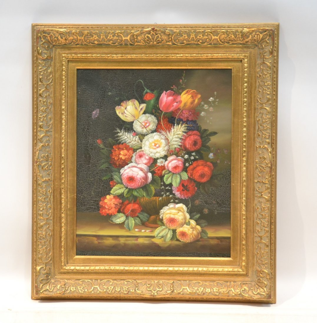 CONTEMPORARY OIL ON CANVAS FLORAL STILL LIFE