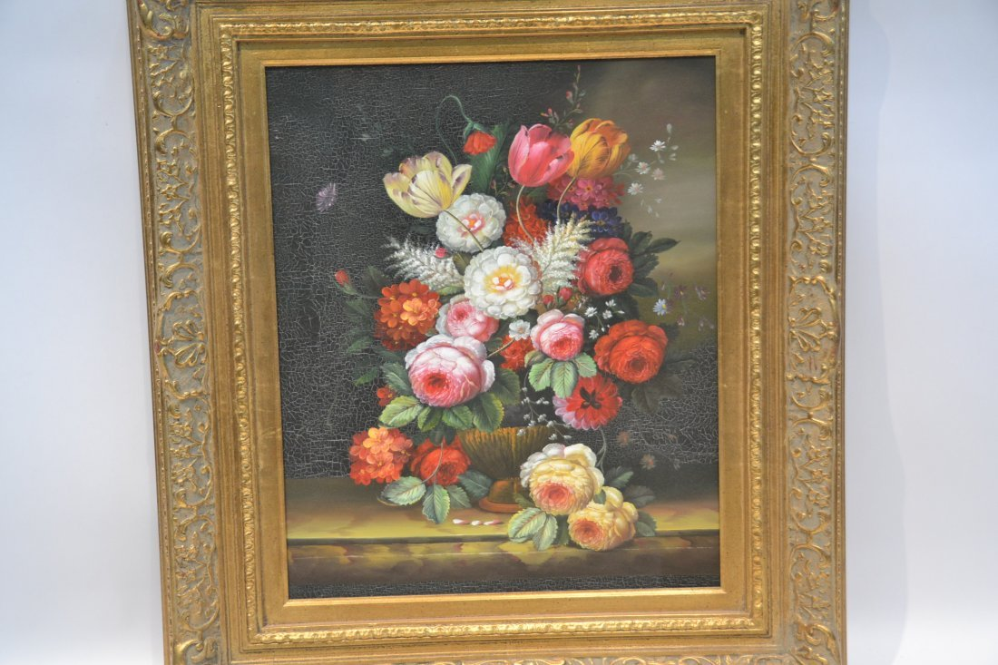 CONTEMPORARY OIL ON CANVAS FLORAL STILL LIFE - 2