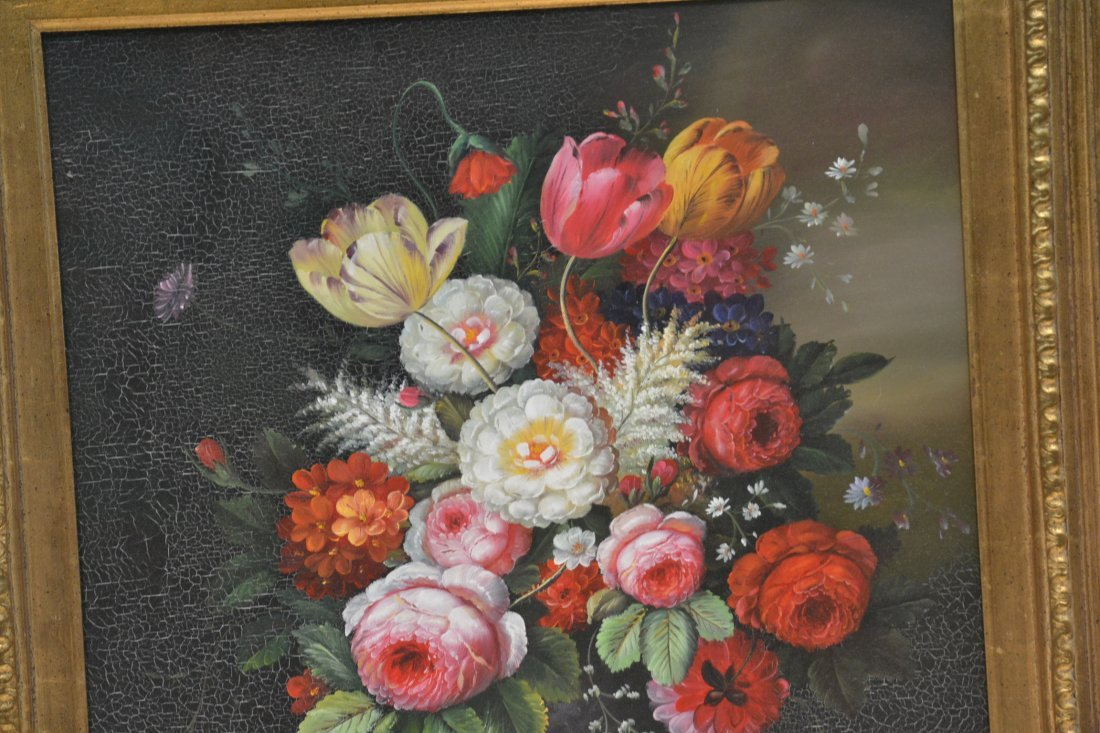 CONTEMPORARY OIL ON CANVAS FLORAL STILL LIFE - 3