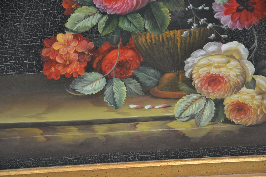 CONTEMPORARY OIL ON CANVAS FLORAL STILL LIFE - 5