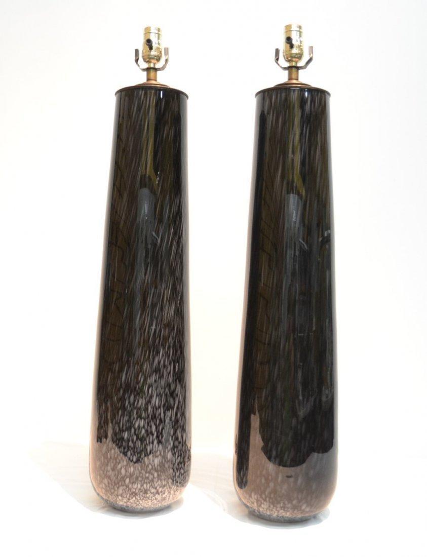 (Pr) BLACK MURANO ART GLASS LAMPS