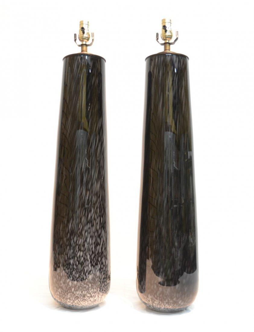(Pr) BLACK MURANO ART GLASS LAMPS - 2