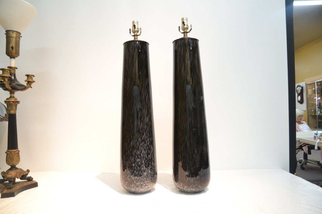 (Pr) BLACK MURANO ART GLASS LAMPS - 3