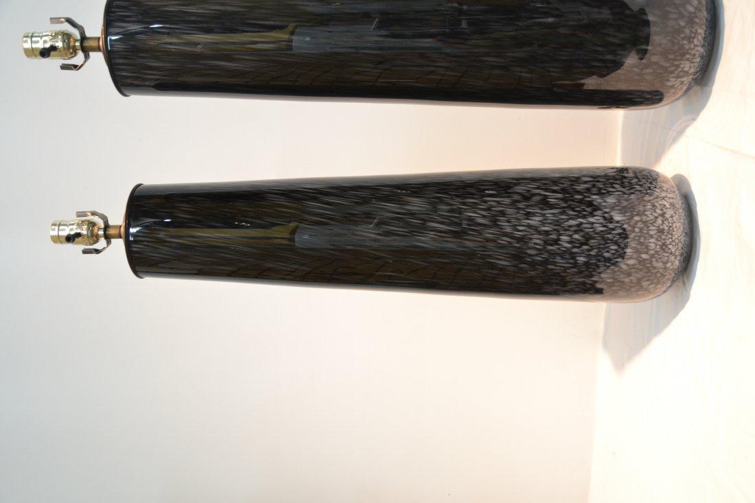 (Pr) BLACK MURANO ART GLASS LAMPS - 4