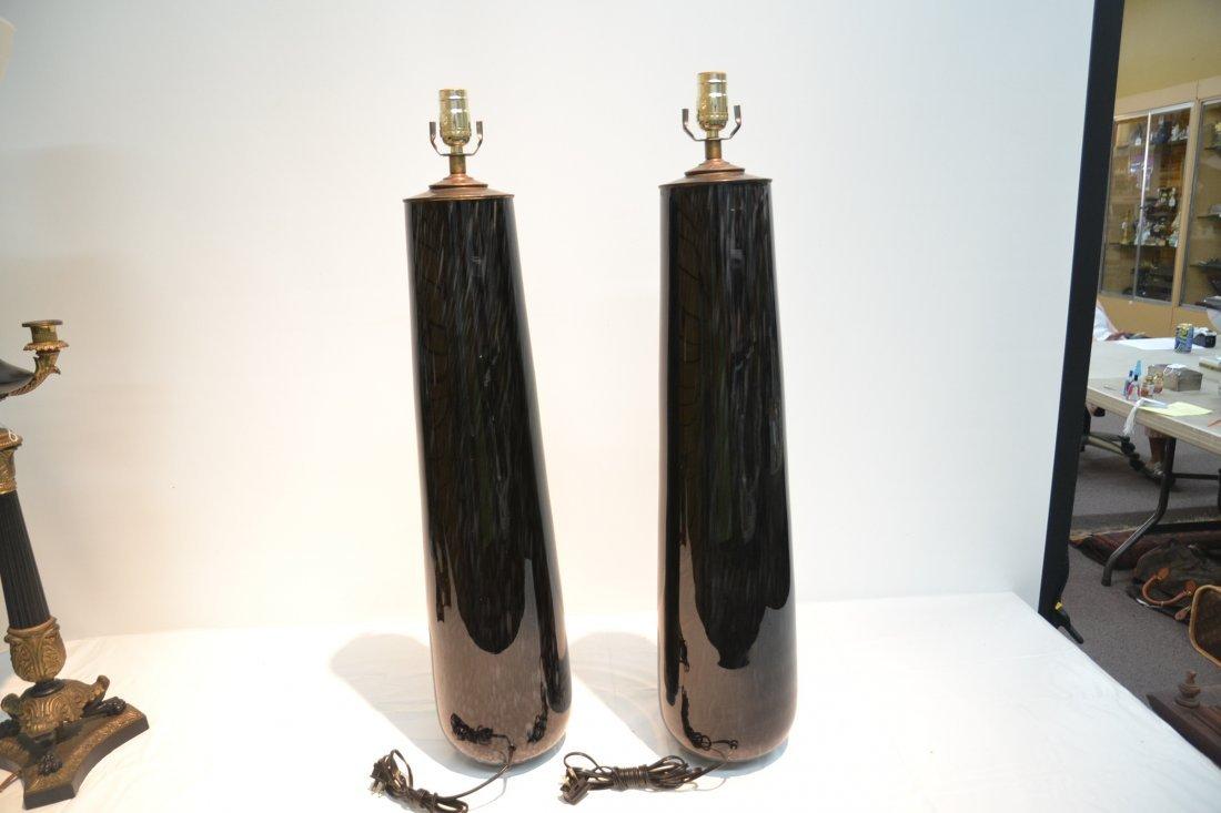 (Pr) BLACK MURANO ART GLASS LAMPS - 7