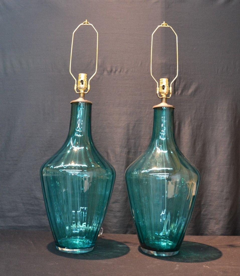 "(Pr) BLUE MURANO GLASS LAMPS - 10"" x 25 1/2:"""
