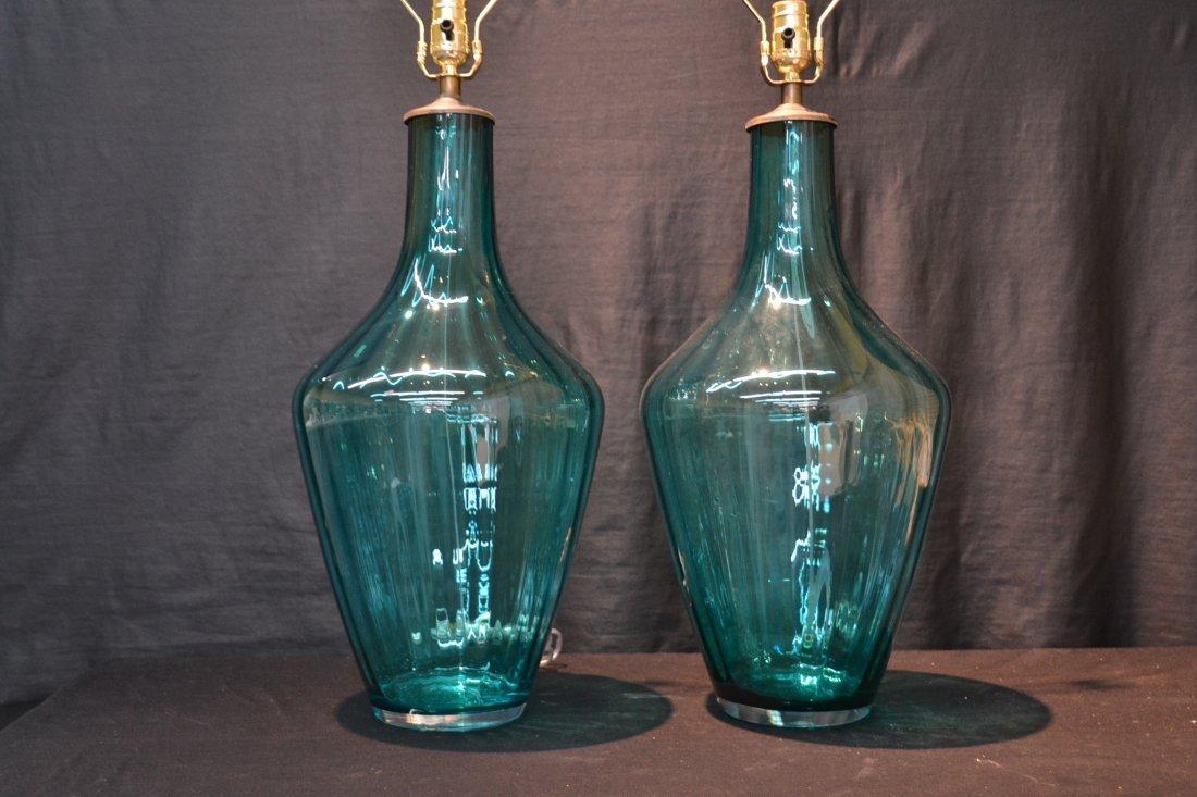 "(Pr) BLUE MURANO GLASS LAMPS - 10"" x 25 1/2:"" - 2"