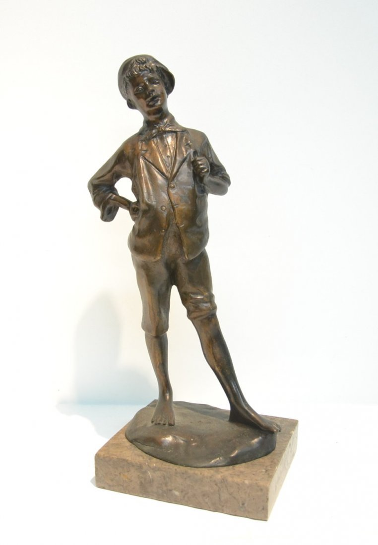 BRONZE BOY WITH HAT SIGNED A.CACCIAPUOTI