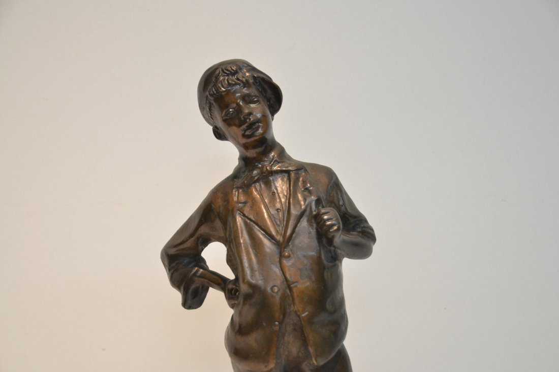 BRONZE BOY WITH HAT SIGNED A.CACCIAPUOTI - 3