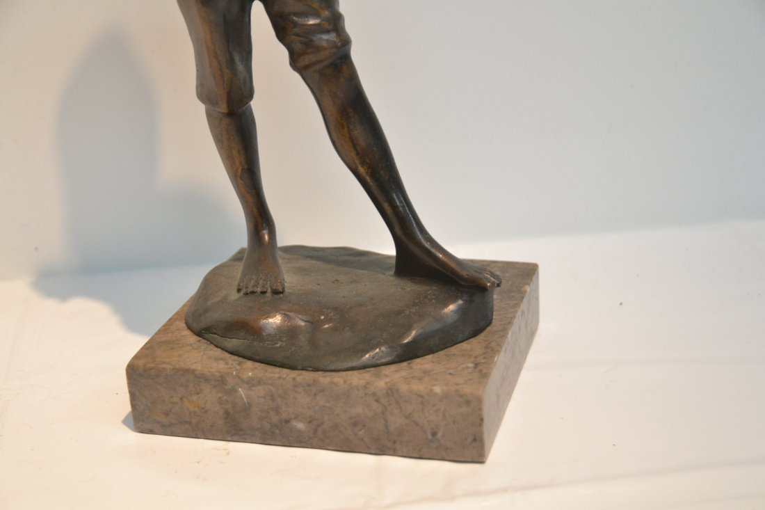 BRONZE BOY WITH HAT SIGNED A.CACCIAPUOTI - 4