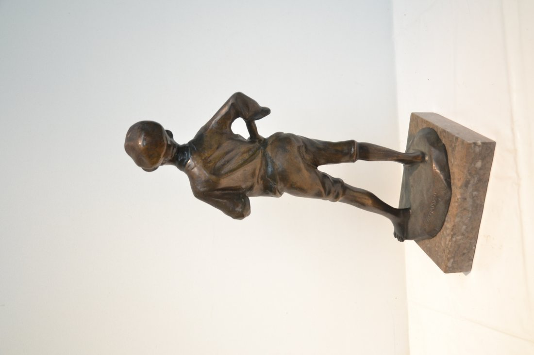 BRONZE BOY WITH HAT SIGNED A.CACCIAPUOTI - 5