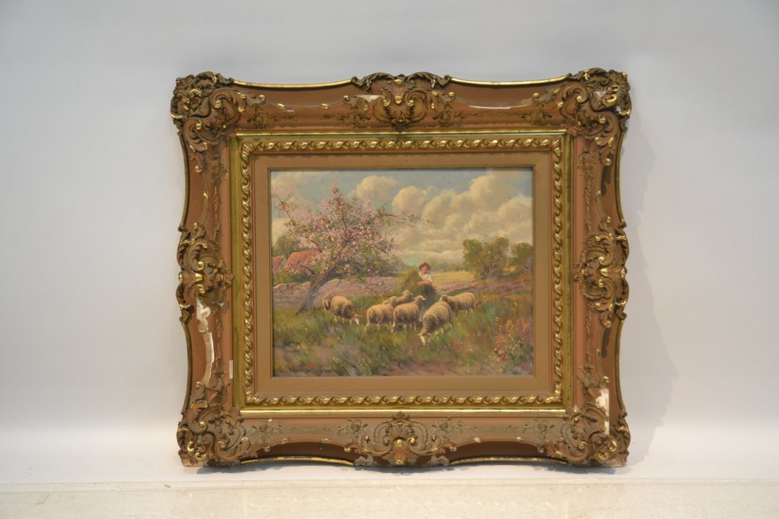 OIL ON CANVAS SHEEP IN PASTURE ; SIGNED - 2