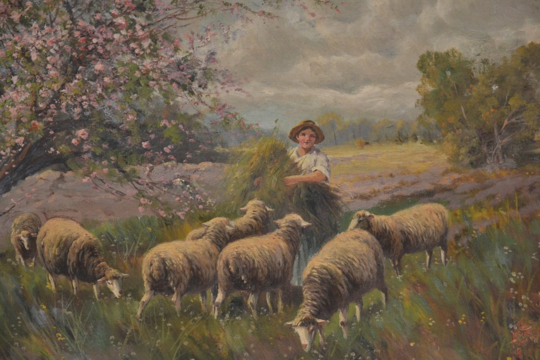 OIL ON CANVAS SHEEP IN PASTURE ; SIGNED - 5