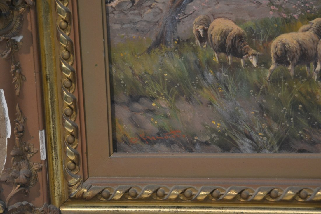 OIL ON CANVAS SHEEP IN PASTURE ; SIGNED - 7