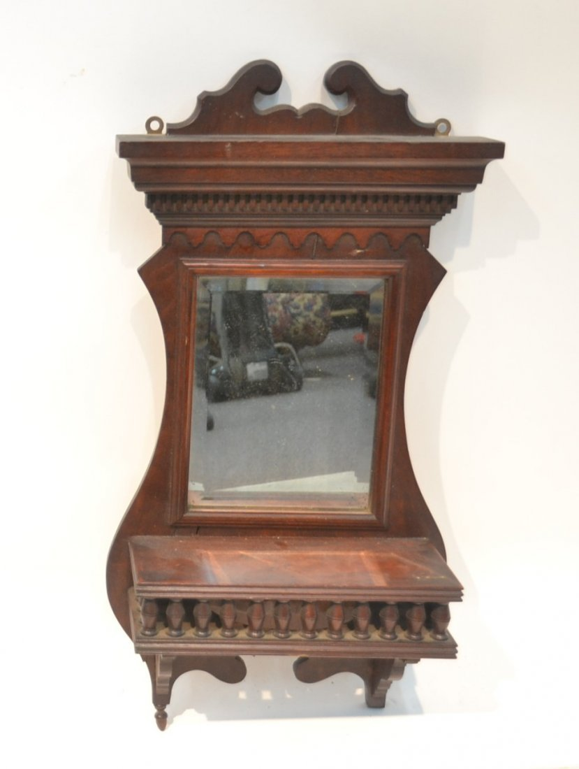 "VICTORIAN MIRROR WITH SHELF - 12"" x 24:"