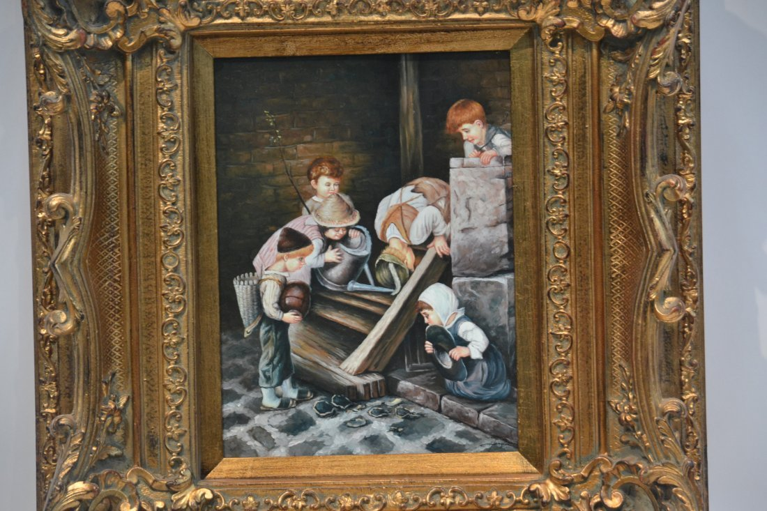 OIL ON BOARD OF CHILDREN PLAYING - 3