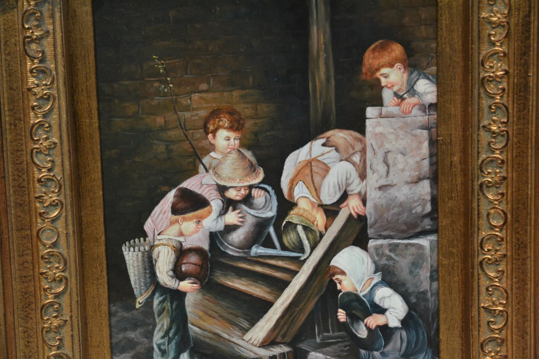OIL ON BOARD OF CHILDREN PLAYING - 4