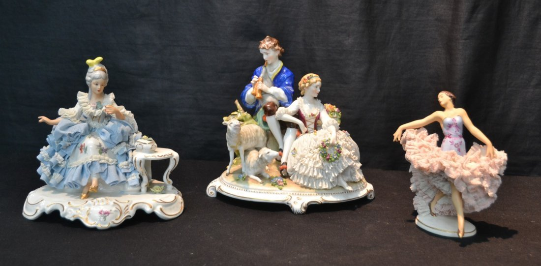 (3)pc's GERMAN PORCELAIN INCLUDING COURTING