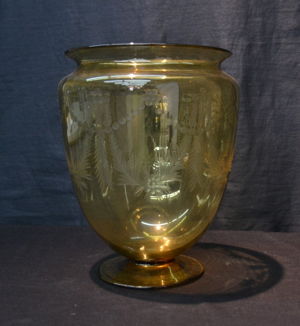 "LARGE ETCHED AMBER VASE - 10"" x 13"""