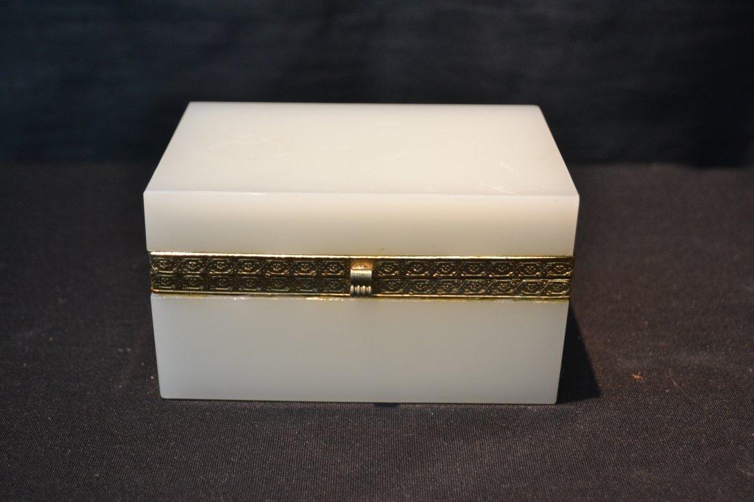 "OPALINE HINGED BOX - 5 1/4"" x 3 1/2"" x 3"" - 2"
