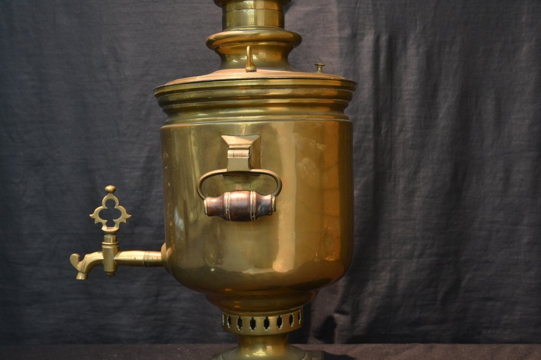 RUSSIAN BRASS SAMOVAR WITH MEDALS - 10