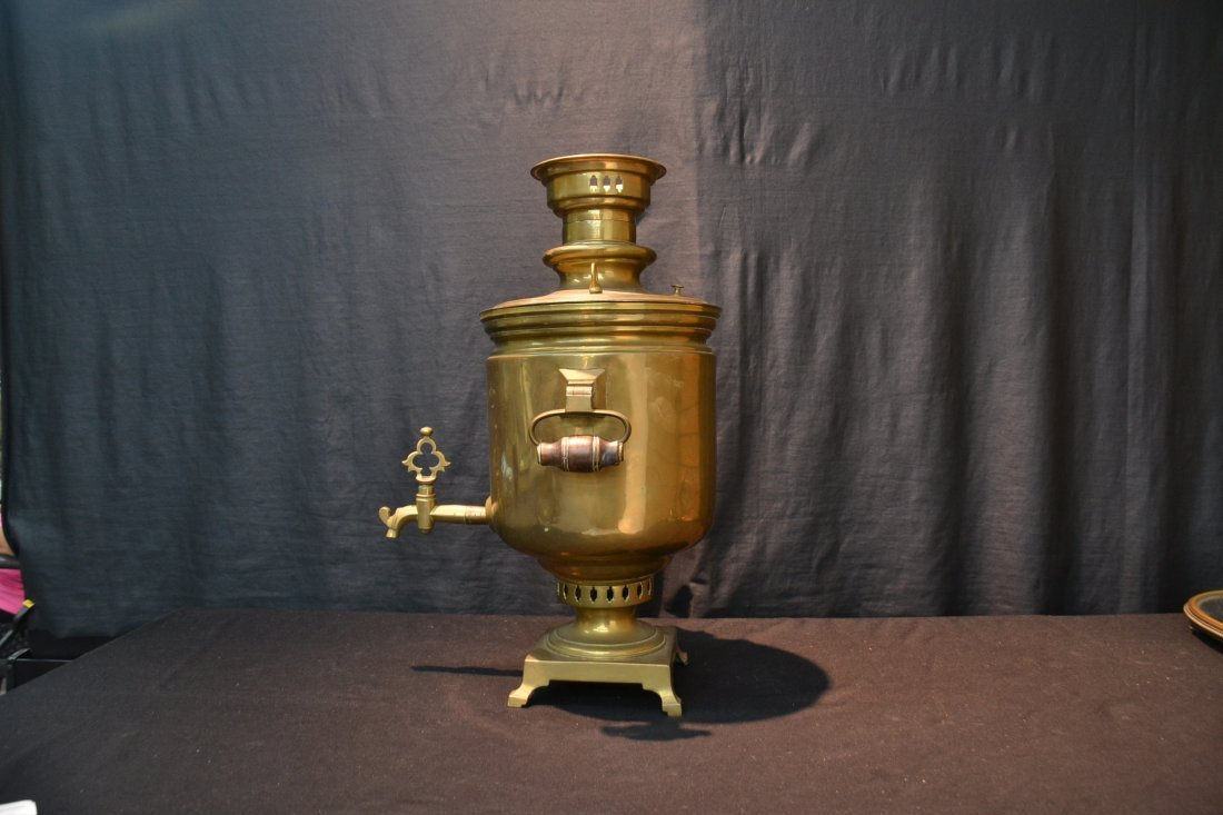 RUSSIAN BRASS SAMOVAR WITH MEDALS - 9