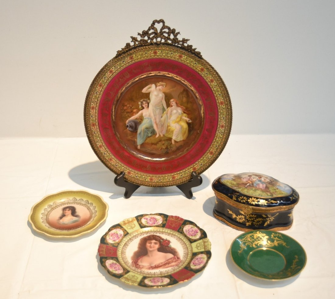 PORCELAIN LOT - CZECH PLATE OF (3) NYMPHS WITH