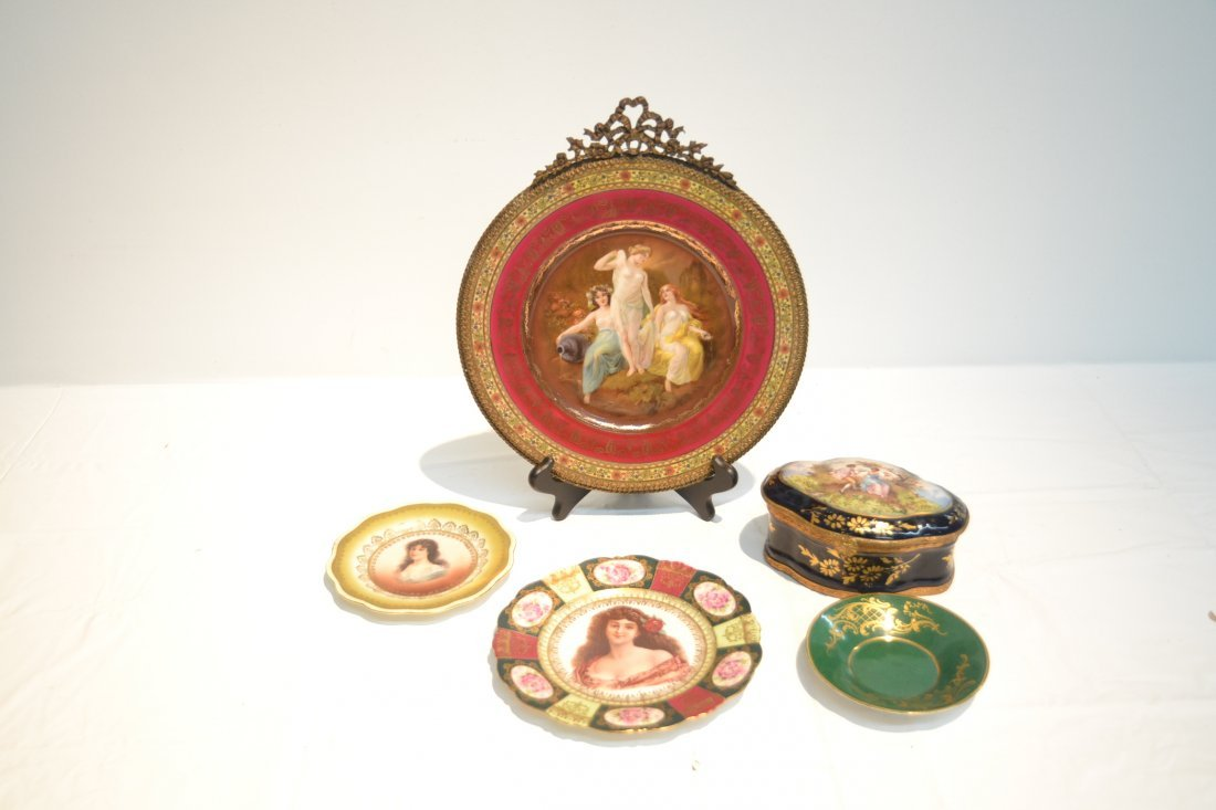 PORCELAIN LOT - CZECH PLATE OF (3) NYMPHS WITH - 2