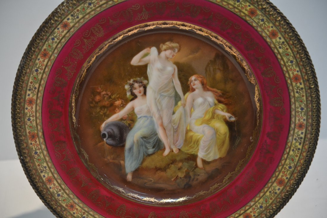 PORCELAIN LOT - CZECH PLATE OF (3) NYMPHS WITH - 4