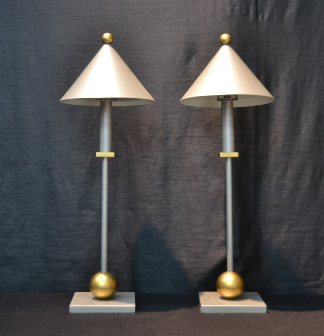 (Pr) MODERN SILVER & GOLD TONE METAL LAMPS BY