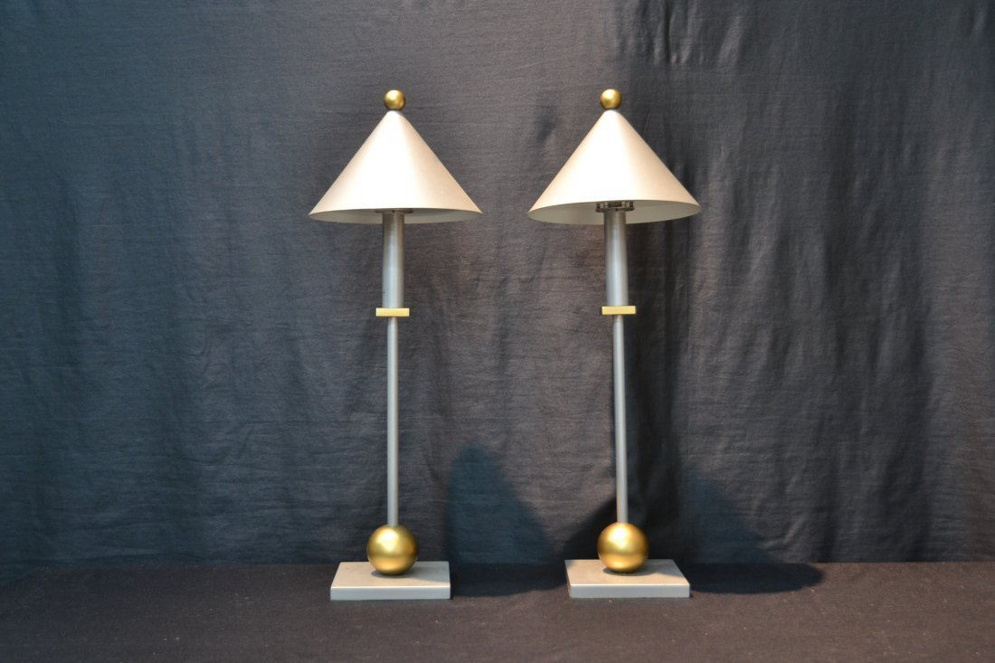 (Pr) MODERN SILVER & GOLD TONE METAL LAMPS BY - 2