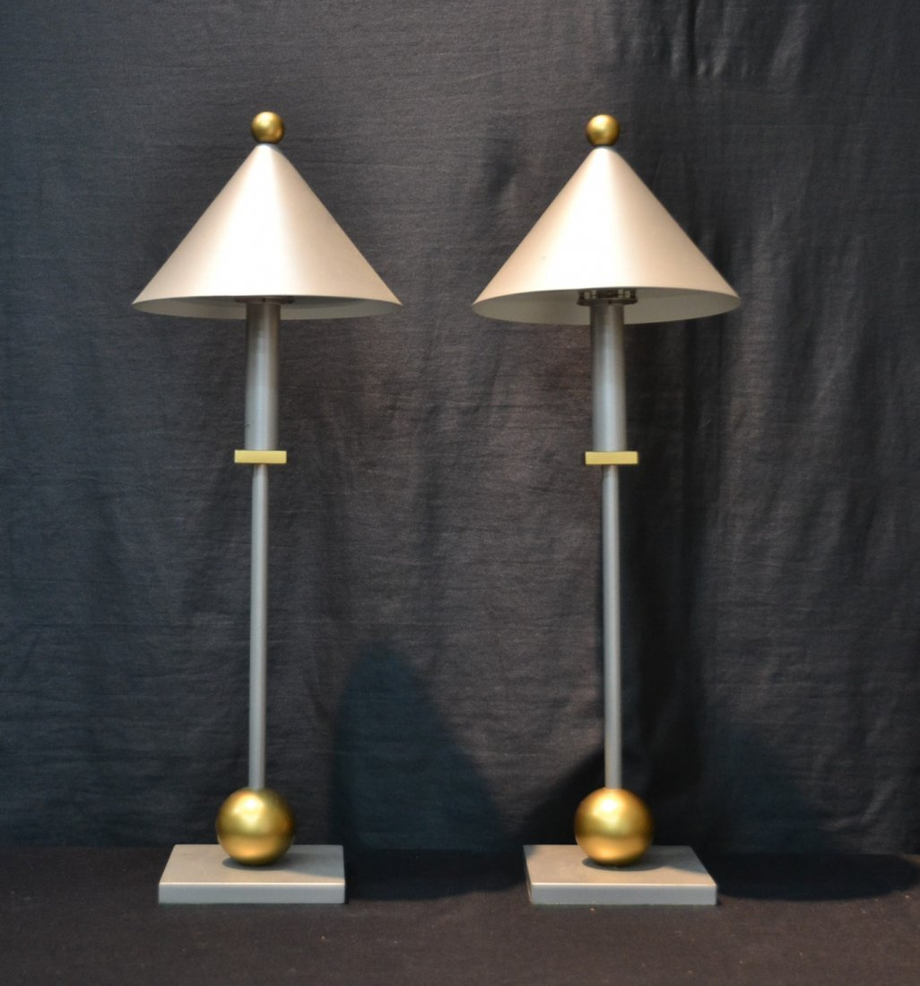(Pr) MODERN SILVER & GOLD TONE METAL LAMPS BY - 3