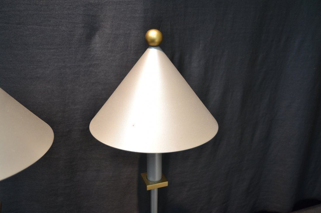 (Pr) MODERN SILVER & GOLD TONE METAL LAMPS BY - 6