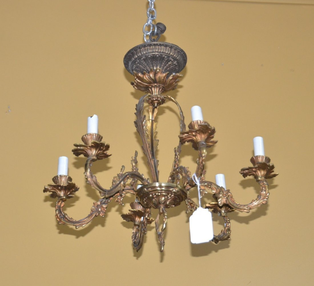 "6-LIGHT BRONZE CHANDLEIER - 18"" x 15"""