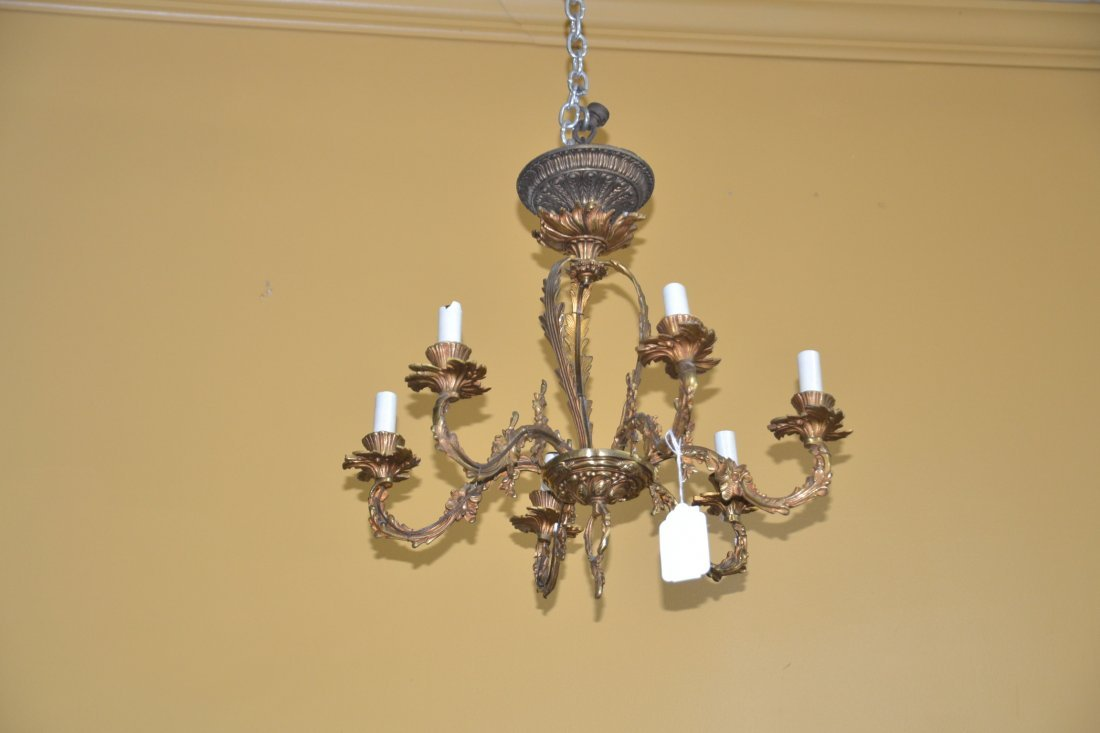 "6-LIGHT BRONZE CHANDLEIER - 18"" x 15"" - 2"