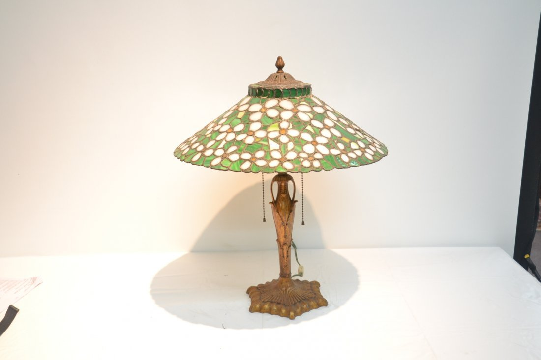 ANTIQUE FLORAL LEADED GLASS TABLE LAMP - 3