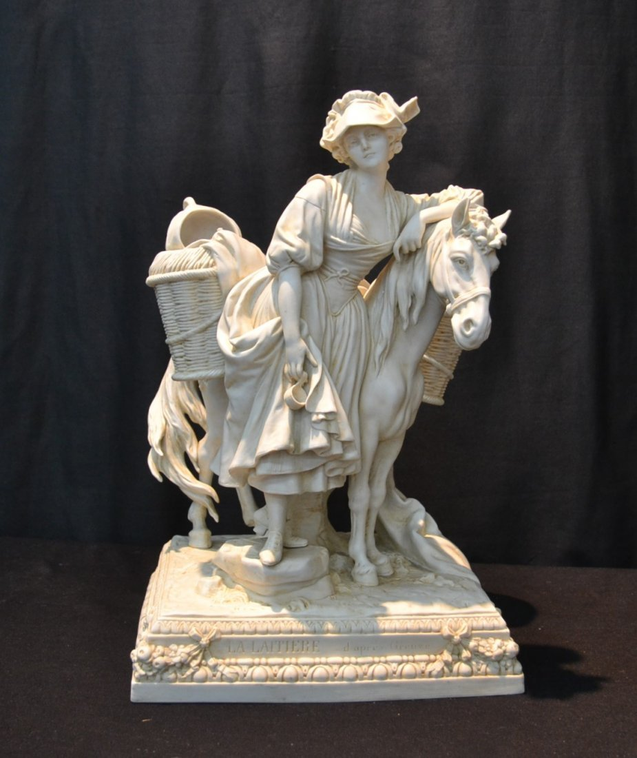 BISQUE PORCELAIN GROUPING OF GIRL WITH HORSE