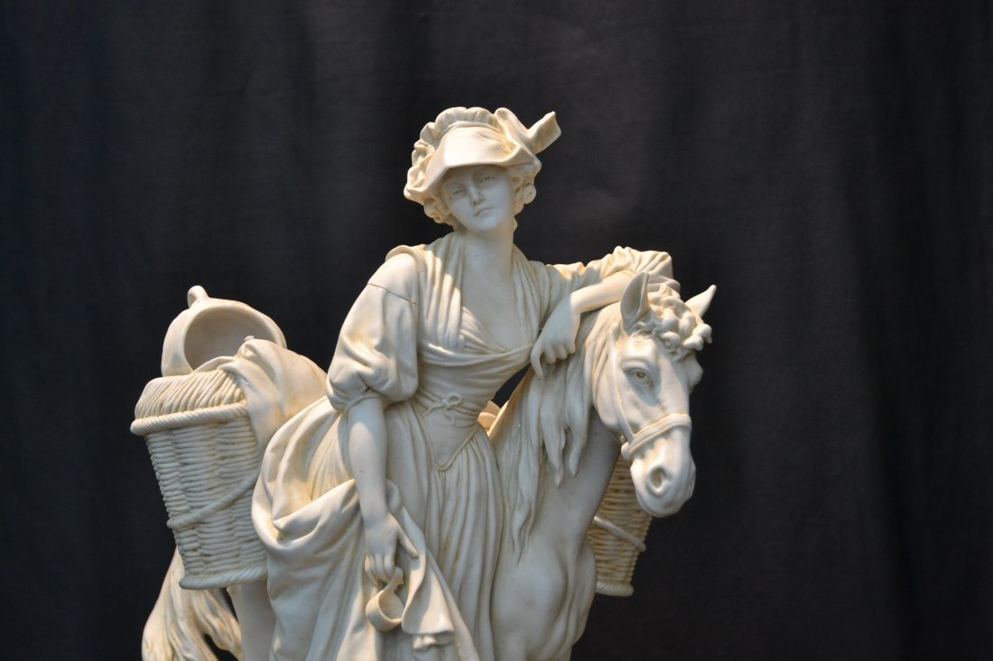BISQUE PORCELAIN GROUPING OF GIRL WITH HORSE - 2