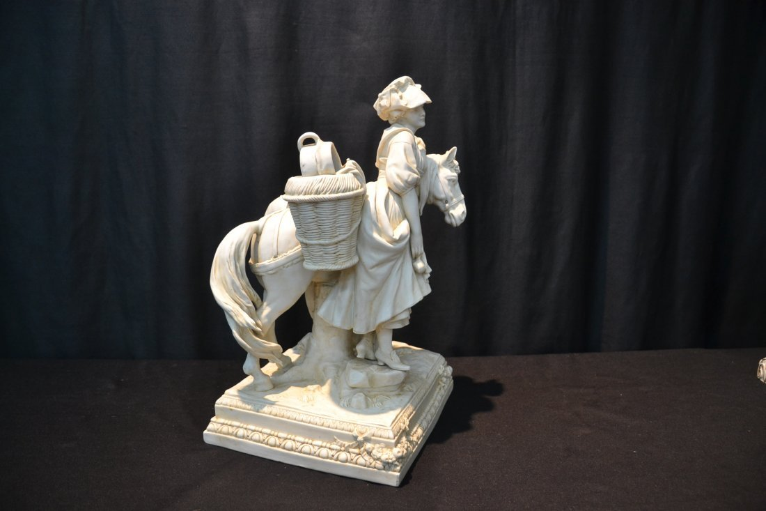 BISQUE PORCELAIN GROUPING OF GIRL WITH HORSE - 4