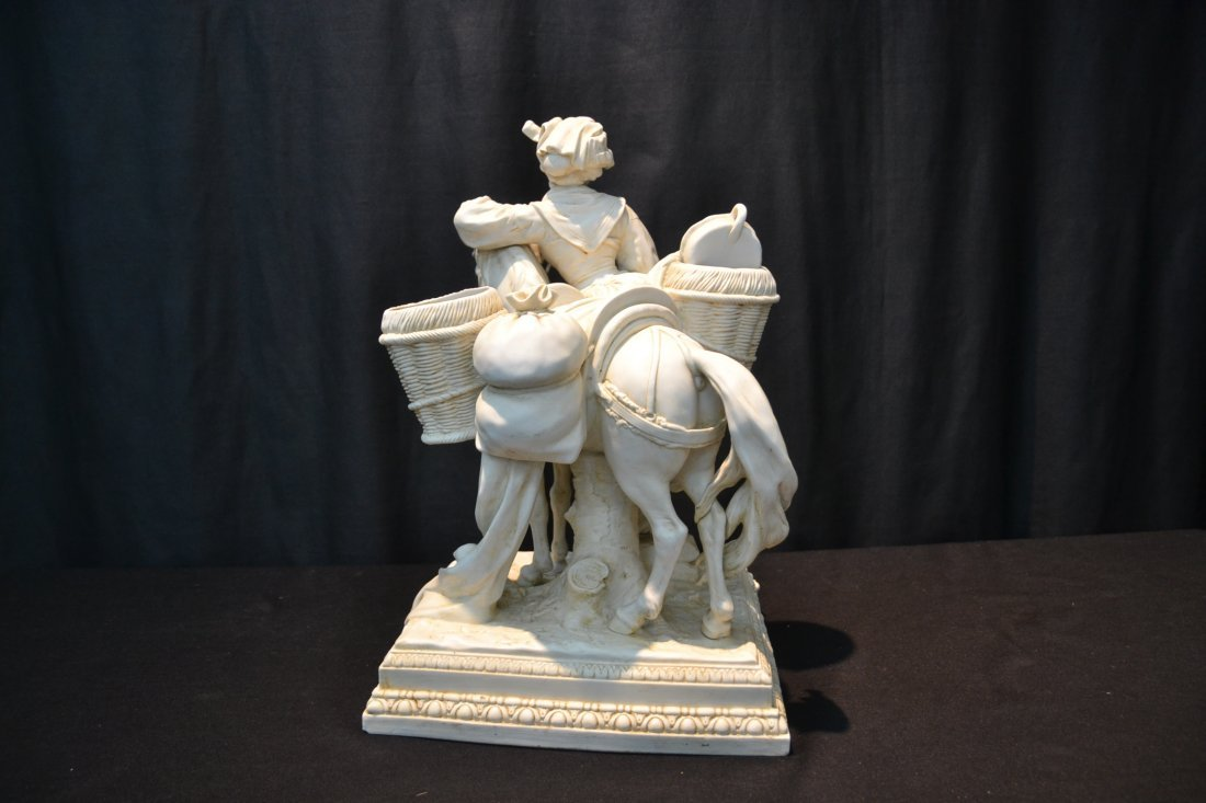BISQUE PORCELAIN GROUPING OF GIRL WITH HORSE - 5