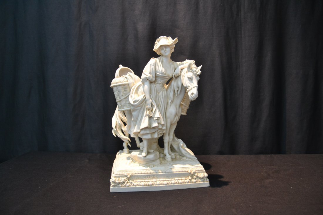 BISQUE PORCELAIN GROUPING OF GIRL WITH HORSE - 8