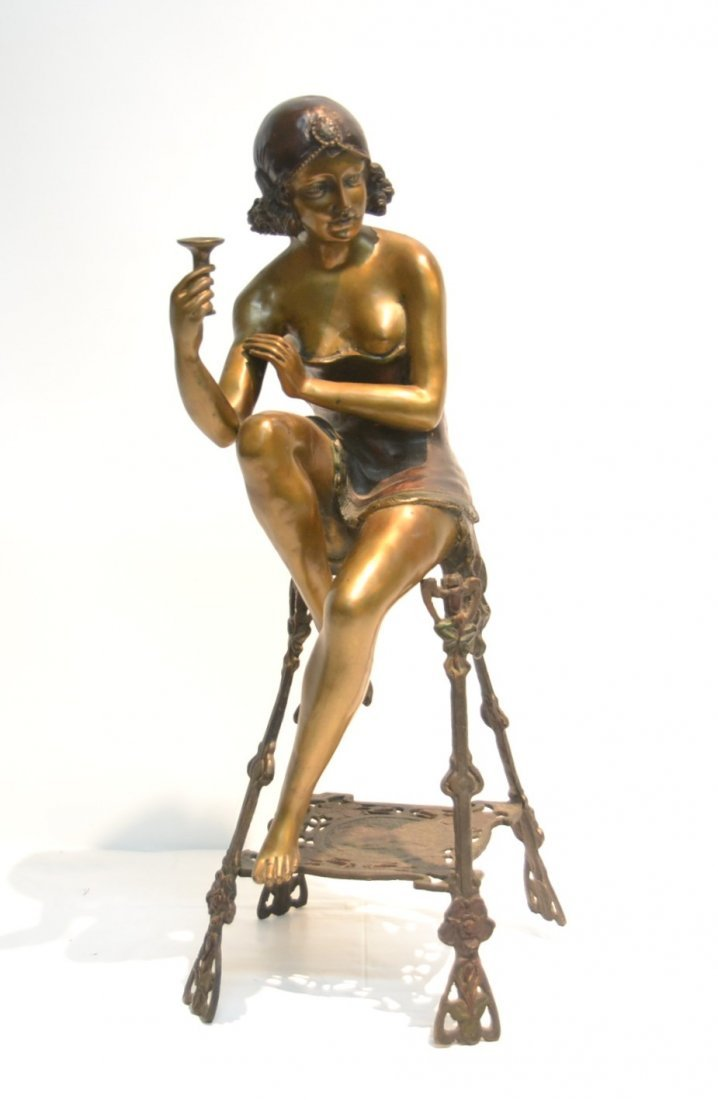 F. DeLUCA , COLD PAINTED BRONZE WOMAN SITTING