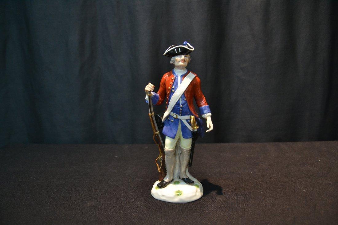 MEISSEN RED & BLUE WAIST COAT FRENCH SOLDIER - 2